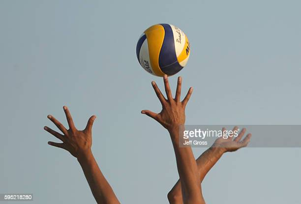 Hands are seen during the FIVB Long Beach Grand Slam on August 24 2016 in Long Beach California