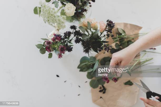 hands arranging floral - purple roses bouquet stock pictures, royalty-free photos & images