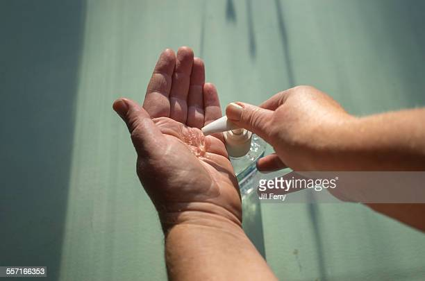 pov - hands at work - hand sanitizer stock pictures, royalty-free photos & images