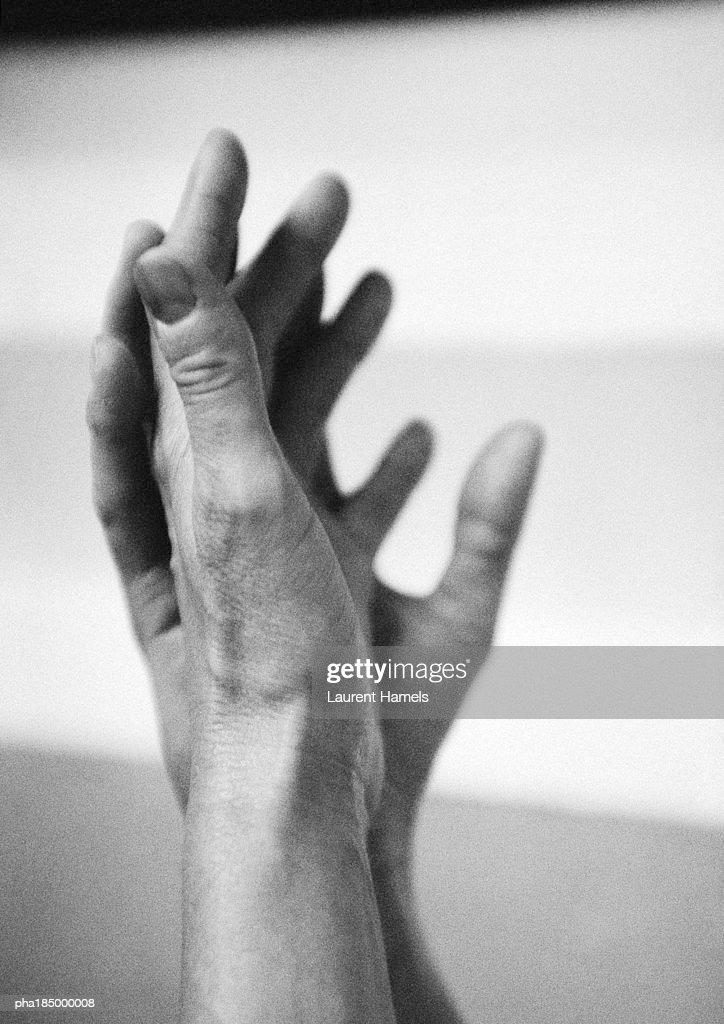 Hands, close-up, b&w : Stockfoto