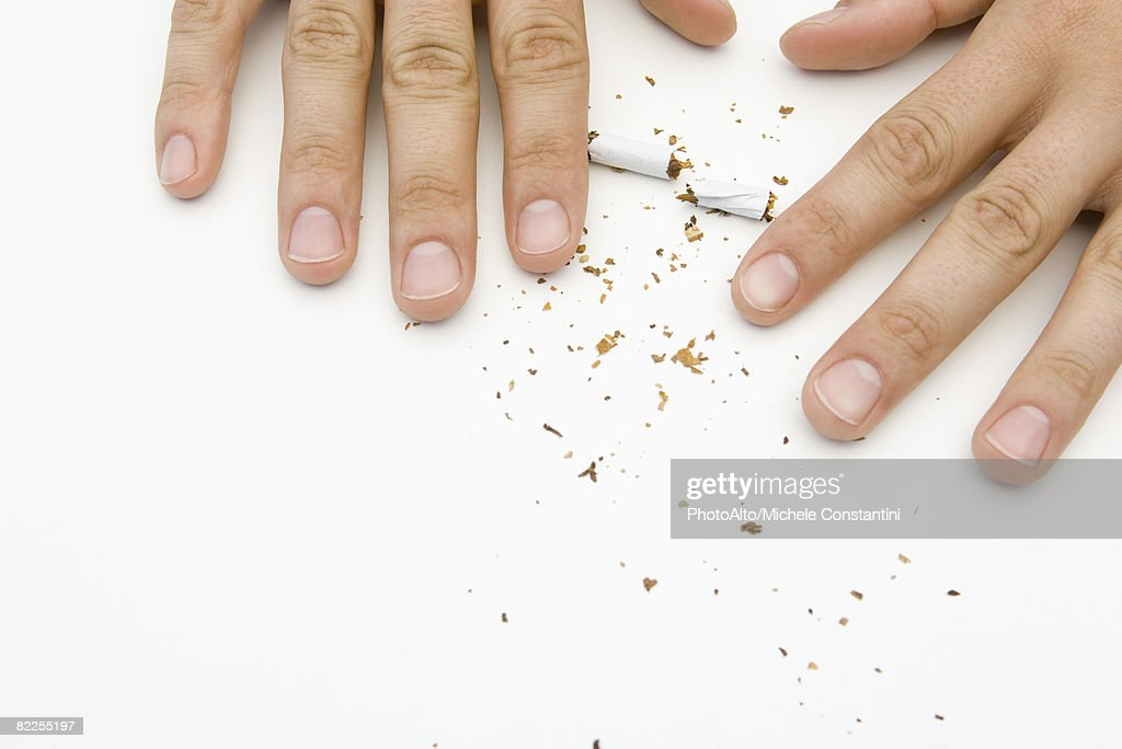 Hands destroying cigarette, cropped : Stock Photo