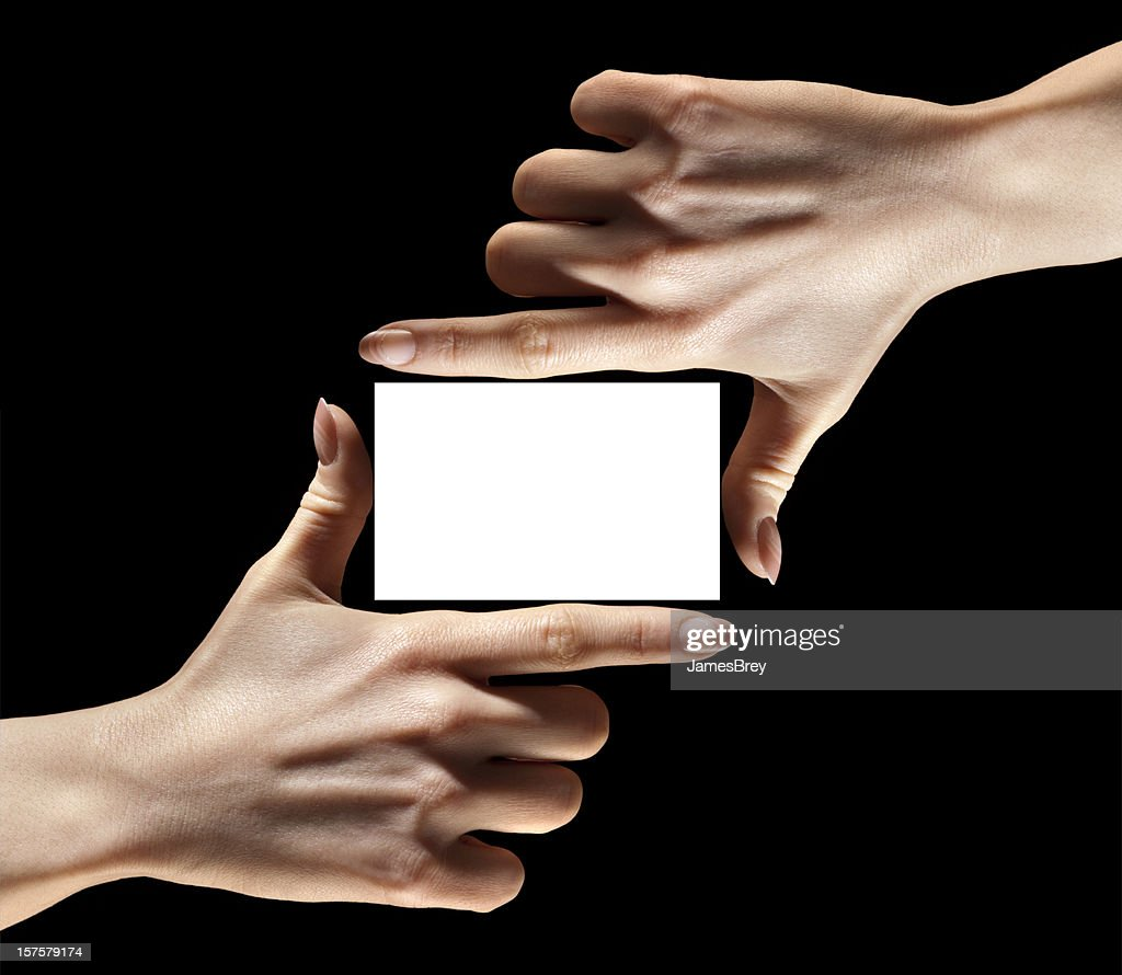 Hands Fingers Holding Framing Blank Business Card Insert Your ...