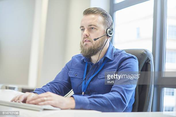 hands free office man