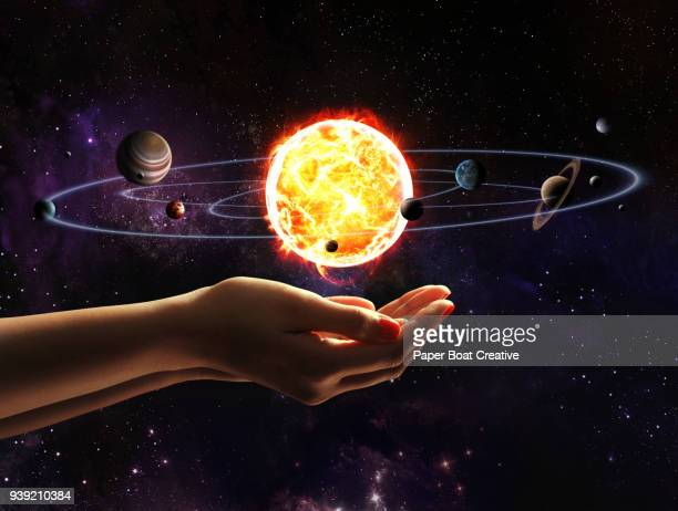 Hands holding a floating solar system in the middle of the palms, with the stars and galaxy in the background