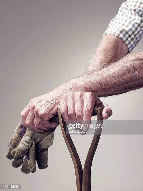 Hands holding a garden tool and garden gloves