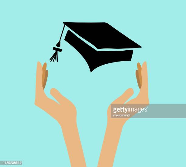 hands holding a university cap - ceremony stock pictures, royalty-free photos & images