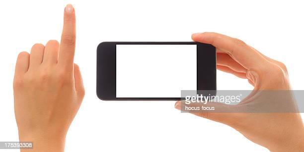 Hände holding und zeigt mit smart phone