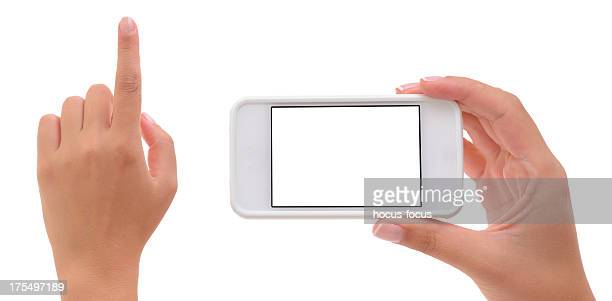 Hands holding and pointing with smart phone
