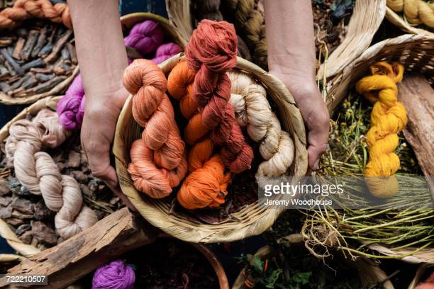 hands holding basket of naturally dyed cotton - dye stock pictures, royalty-free photos & images