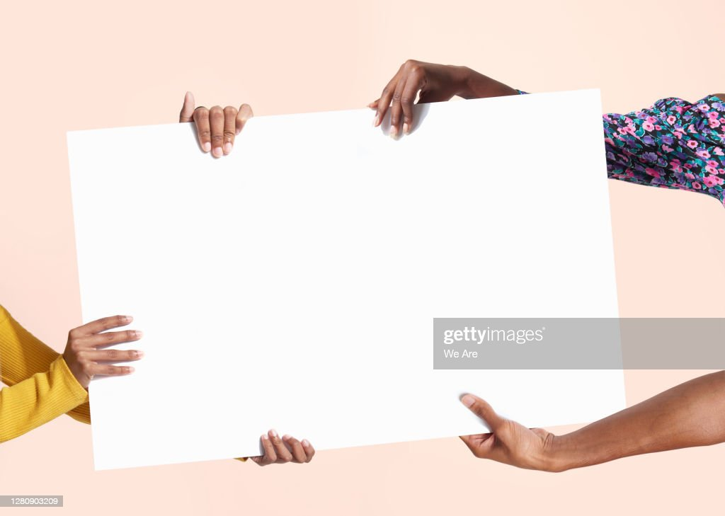 hands holding blank sign : Stock Photo