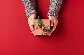 Hands holding Christmas gift box.