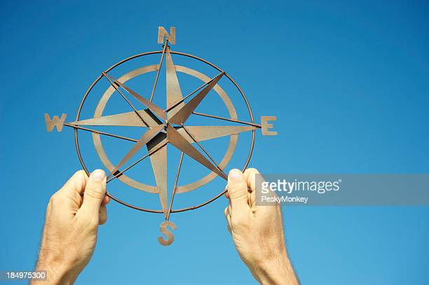 Hands Holding Compass Against Bright Blue Sky
