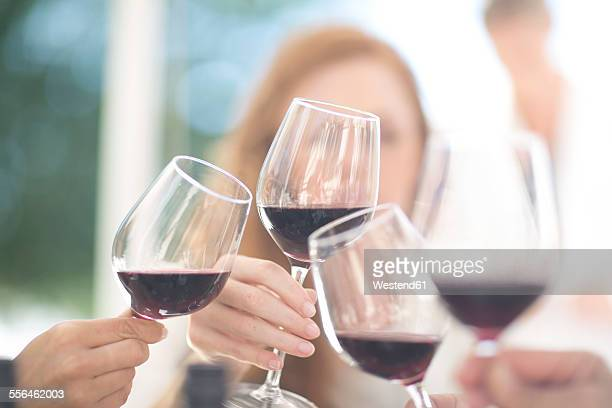 Hands holding glasses of red wine