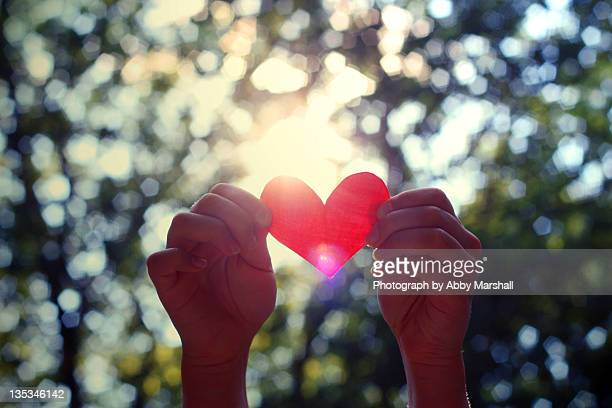 Hands holding heart on bokeh background