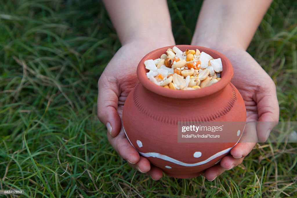 Hands holding pot with variety of ingredients : Stock Photo