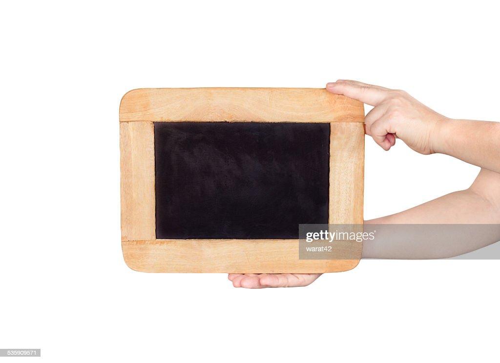 hands holding slate blackboard isolated on white background : Stock Photo