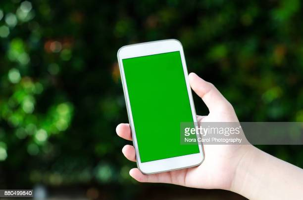 Hands Holding Smart Phone With Green Screen