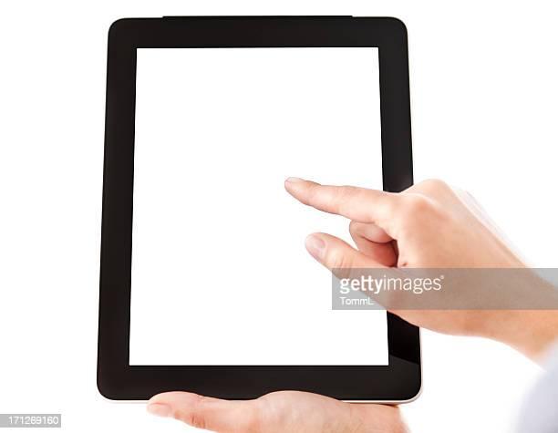 Mãos segurando o Tablet PC com tela em branco