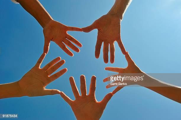 Hands in circle, palms upward, close-up
