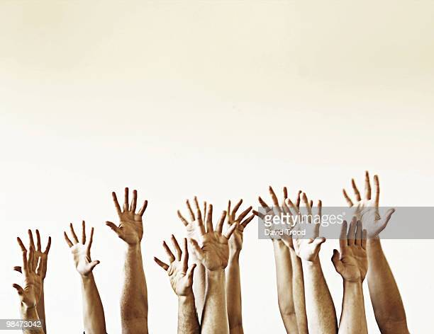 hands in the air - arms raised stock pictures, royalty-free photos & images