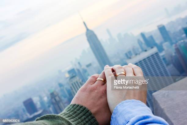 Hands of a married couple in New York City