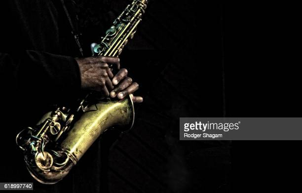 Hands of a saxophonist