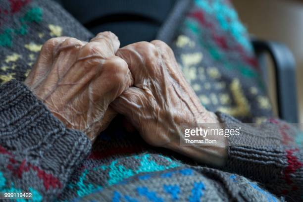 Hands of an old person showing veins, nursing home, retirement home