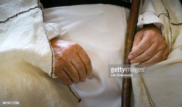 Hands of Baba Sheikh religious leader of the Yazidis on April 23 2018 in LALISH IRAQ