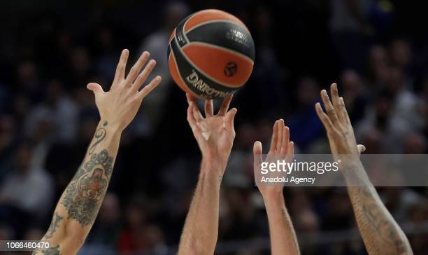 Hands of basketball players try to control the ball during Turkish Airlines Euroleague week 10 basketball match between Real Madrid and CSKA Moscow...