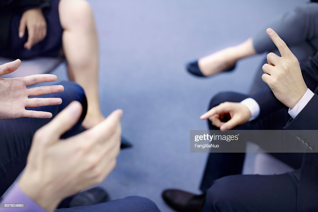 Hands of business people interacting in office meeting : Stock-Foto