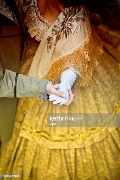 hands of dancing couple - victorian style stock pictures, royalty-free photos & images