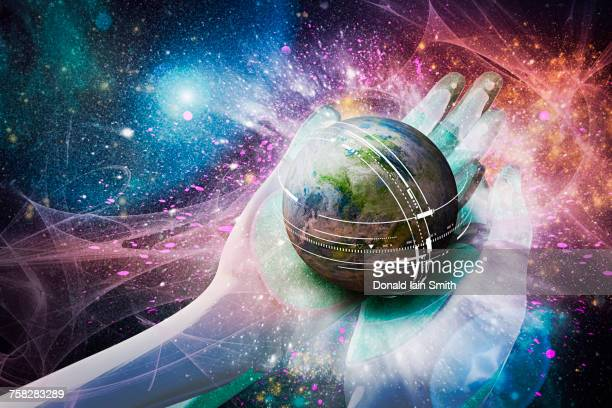 hands of deity cupping globe - god stock pictures, royalty-free photos & images