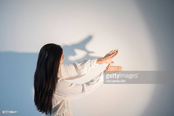 Hands of Indian woman casting shadow puppet on wall