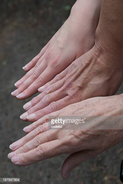 Hands of Mother, Daughter and Grandmother