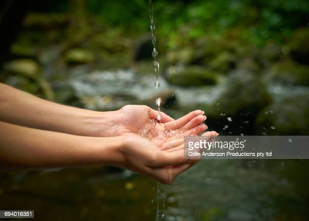 hands of pacific islander woman catching dripping water - spring flowing water stock pictures, royalty-free photos & images