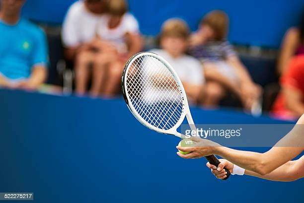 Hands of Professional Female Tennis Player to Serve