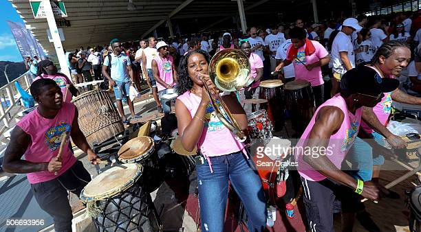 Hands of Rhythm instrumental band performs in the North Stand at the semifinals of Panorama in the Queen's Park Savannah during Carnival in Port of...
