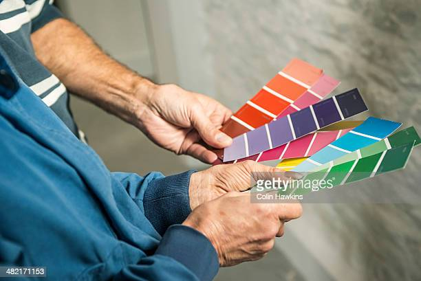 Hands of senior couple holding colour charts