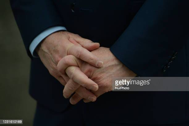 Hands of Taoiseach Micheal Martin during media interview outside Government Buildings in Dublin before the Cabinet meeting. On Tuesday, 9 March in...