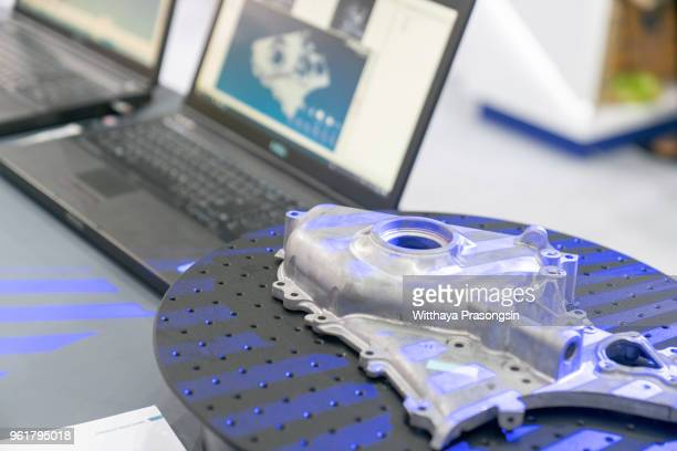 hands of technician use 3d scan for scan part of automobile on show in the old laptop display on blurred background, industry 4.0 - sensor stock pictures, royalty-free photos & images