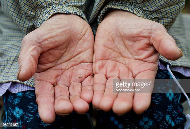 Hands of the old female farmer