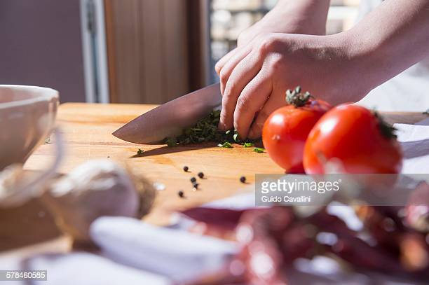Hands of woman slicing herbs at kitchen counter