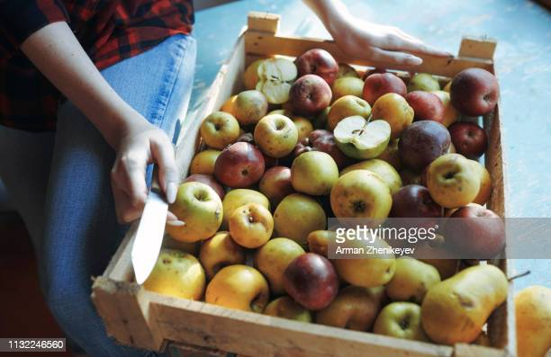 hands of woman with box of apples and pears - apple stock pictures, royalty-free photos & images