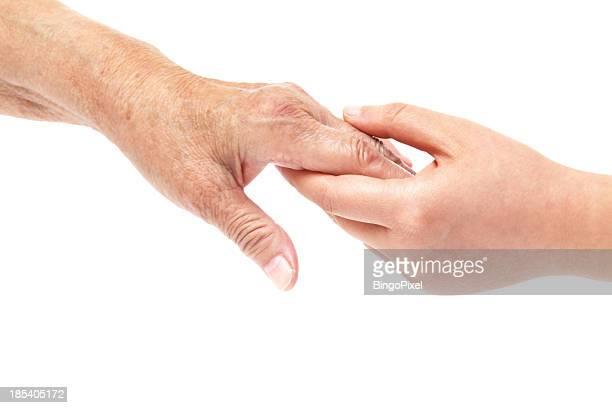 Hände Junge und ältere Frauen-Unterstützung