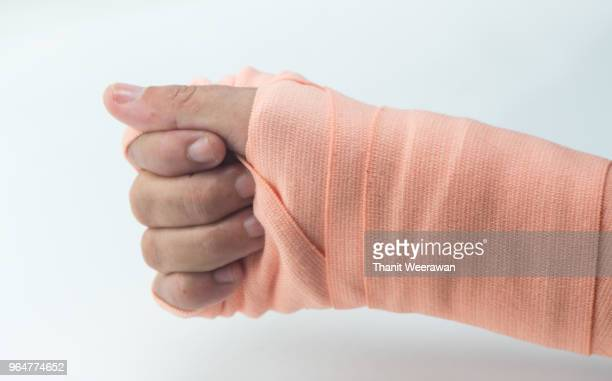 Hands on a bandage