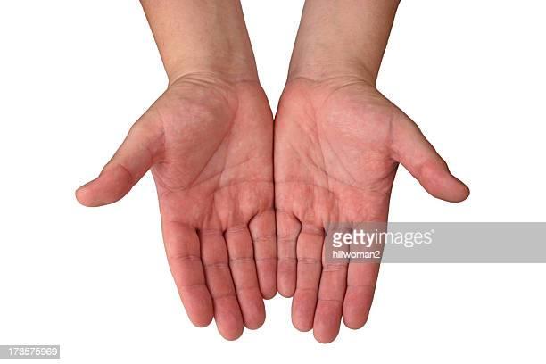 Les mains: Ouvert avec un Tracé de détourage