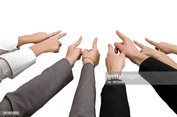 hands pointing to a central point - blame stock pictures, royalty-free photos & images