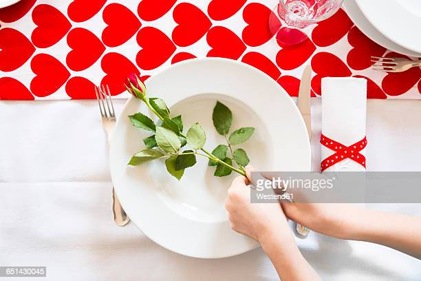 hands putting rose on dish at laid table - valentine's day holiday stock pictures, royalty-free photos & images