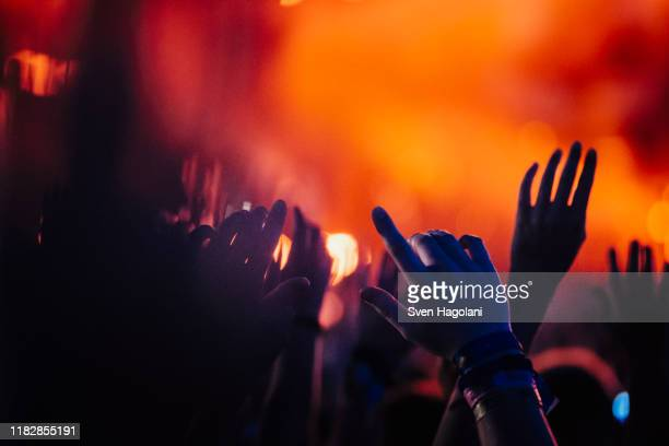 hands raised, cheering in concert audience - konzert stock-fotos und bilder
