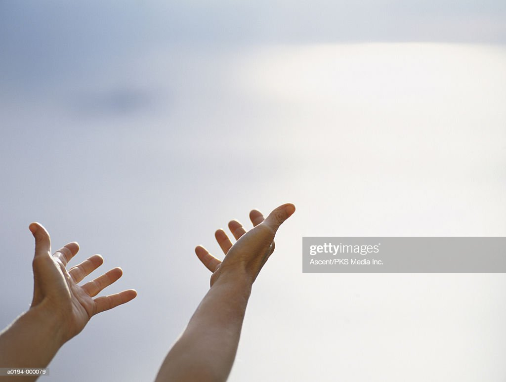 Hands Reaching for Sky : Stock Photo